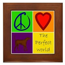 Perfect World: Chocolate Lab - Framed Tile
