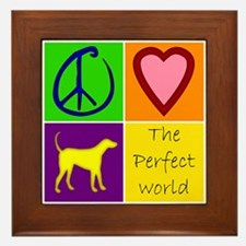 Perfect World: Yellow Lab - Framed Tile