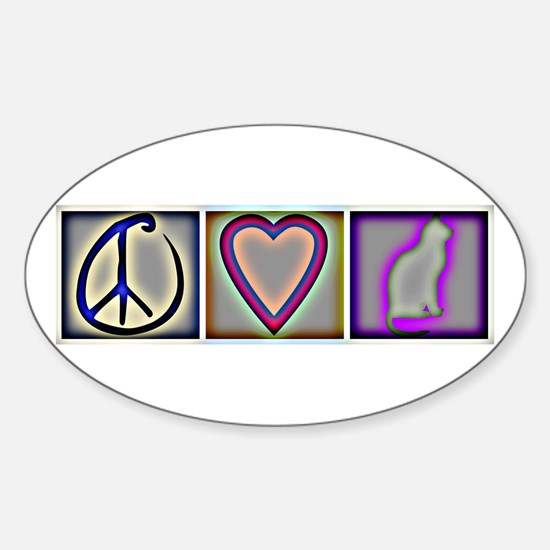 Peace Love Cats (ALT) - Oval Decal