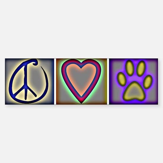 Peace Love Dogs (ALT) - Bumper Car Car Sticker
