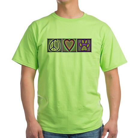 Peace Love Dogs (ALT) - Green T-Shirt