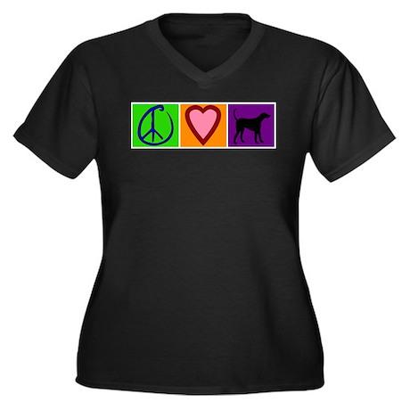 Peace Love Black Labs - Women's Plus Size V-Neck D