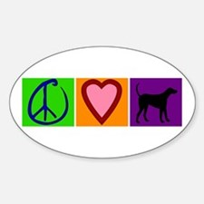 Peace Love Black Labs - Oval Decal