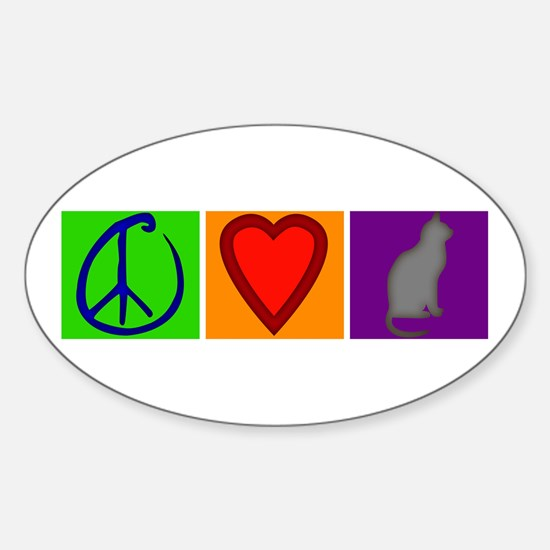 Peace Love Cats - Oval Decal