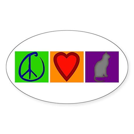 Peace Love Cats - Oval Sticker (50 pk)
