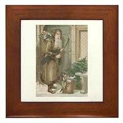 St. Nick with Baskets Framed Tile