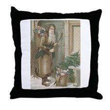 St. Nick with Baskets Throw Pillow