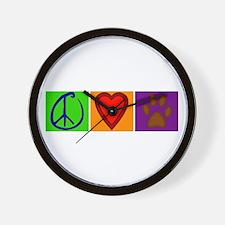 Peace Love Dogs - Wall Clock