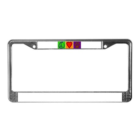 Peace Love Dogs - License Plate Frame