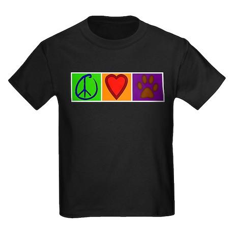 Peace Love Dogs - Kids Dark T-Shirt