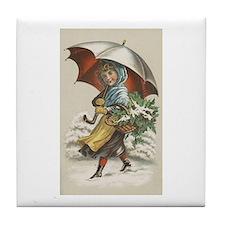 Umbrella Girl Tile Coaster