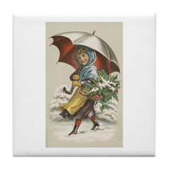 Umbrella Girl Tile Coaster