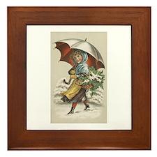 Umbrella Girl Framed Tile