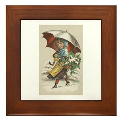 Umbrella Girl Framed Tile