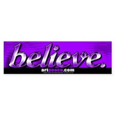 """BELIEVE"" Bumper Sticker: purple"