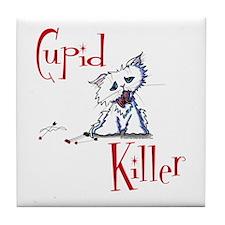 Cupid Killer Kitty Tile Coaster