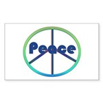 Blue / Green Peace Sign Sticker (Rectangle 10 pk)