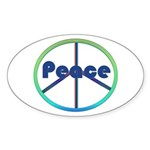 Blue / Green Peace Sign Sticker (Oval 10 pk)