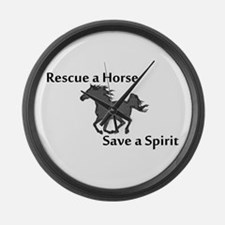 Rescue a Horse Large Wall Clock