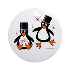 New Year Penguins Ornament (Round)