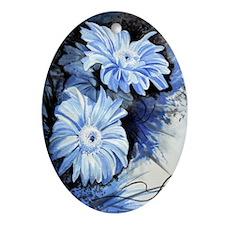 Bleu Gerberas Oval Ornament