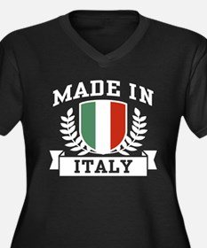 Made In Italy Women's Plus Size V-Neck Dark T-Shir