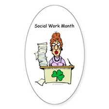 Social Work Month Desk Oval Decal