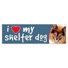 I Love My Shelter Dog Pomeranian Bumper Bumper Sticker