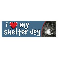 I Love My Shelter Dog bumper sticker - chow mix