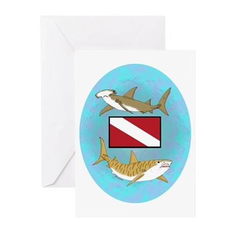 Dive Sharks Greeting Cards (Pk of 20)