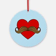 Moustache Valentine Heart Ornament (Round)