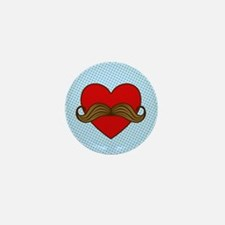 Moustache Valentine Heart Mini Button