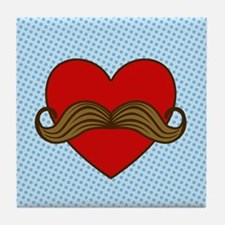 Moustache Valentine Heart Tile Coaster