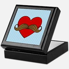Moustache Valentine Heart Keepsake Box