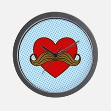 Moustache Valentine Heart Wall Clock