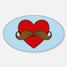Moustache Valentine Heart Oval Decal