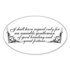 Jane Austen Inspired Oval Decal