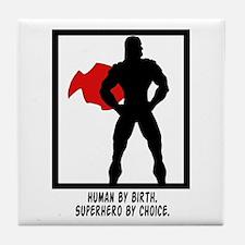 Superhero Silhouette Tile Coaster