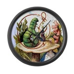 ALICE & THE CATERPILLAR Large Wall Clock