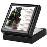 Firefighter prayer Square Keepsake Boxes