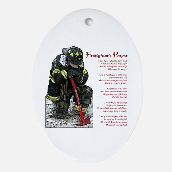 Firefighter Prayer Oval Ornament