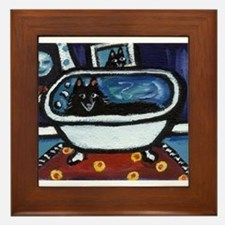 Schipperke bath moon smile Framed Tile