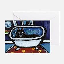 Schipperke bath moon smile Greeting Cards (Package