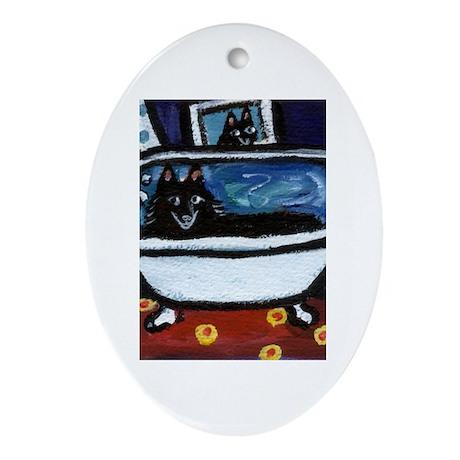 Schipperke bath moon smile Oval Ornament