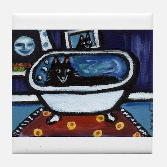 Schipperke bath moon smile Tile Coaster