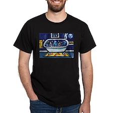 BOSTON TERRIER bath moon smil Black T-Shirt