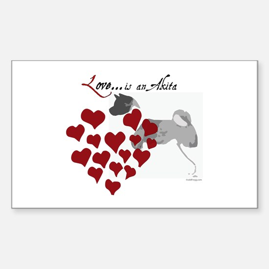 Love Is An Akita Valentine Rectangle Decal