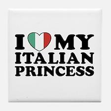 I Love My Italian Princess Tile Coaster