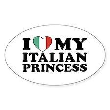I Love My Italian Princess Oval Decal
