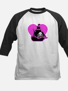 Valentine Pirate Ship Kids Baseball Jersey